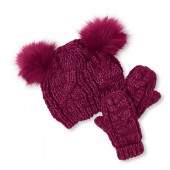 Toddler Girls Faux Fur Metallic Pom Pom Beanie And Mittens Set