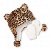 Toddler Girls Faux Fur Leopard Print Hat And Mittens Set