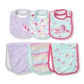 Baby Girls Rainbow Unicorn Bib And Burp Cloth 6-Piece Set