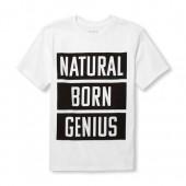 Boys Short Sleeve Natural Born Genius Graphic Tee