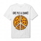 Boys Short Sleeve Give Pizz-A Chance Pizza Graphic Tee