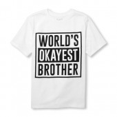 Boys Short Sleeve Worlds Okayest Brother Graphic Tee