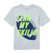 Boys Short Sleeve Fear My Skills Football Graphic Tee