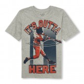 Boys Short Sleeve Its Outta Here Baseball Player Graphic Tee