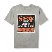 Boys Short Sleeve Sorry Im No Longer Available For Homework Graphic Tee