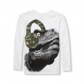 Boys Long Sleeve Dino Headphone Graphic Tee
