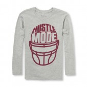 Boys Long Sleeve Hustle Mode Helmet Graphic Tee