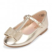 Toddler Girls Metallic Bow T-Strap Ballet Flat