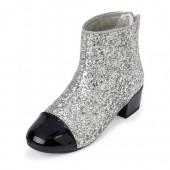 Girls Glitter Mini Heel Booties