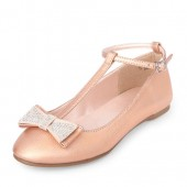 Girls Embellished Bow T-Strap Faux Patent Leather Ballet Flat