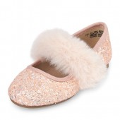 Toddler Girls Glitter Faux Fur Kayla Ballet Flat