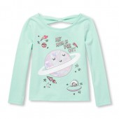 Baby And Toddler Girls Long Sleeve Embellished Graphic Bow-Back Top