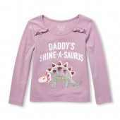 Baby And Toddler Girls Long Sleeve Embellished Graphic Ruffle-Front Top