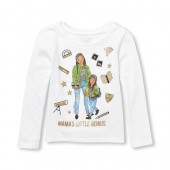Baby And Toddler Girls Long Sleeve Glitter Mamas Little Genius Graphic Tee