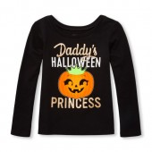 Baby And Toddler Girls Long Sleeve Glitter Daddys Halloween Princess Graphic Tee