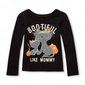 Baby And Toddler Girls Long Sleeve Boo-Tiful Like Mommy Glow-In-The-Dark Cat Graphic Tee