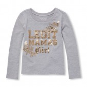 Baby And Toddler Girls Long Sleeve Foil Legit Mamas Girl Graphic Tee