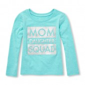 Baby And Toddler Girls Long Sleeve Glitter Mom Daughter Squad Graphic Tee