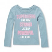 Baby And Toddler Girls Long Sleeve Powerful Like A Girl Graphic Tee