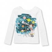 Baby And Toddler Girls Long Sleeve Girls Rule The Galaxy Space Graphic Tee