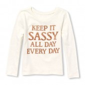 Baby And Toddler Girls Long Sleeve Keep It Sassy All Day Every Day Glitter Graphic Tee