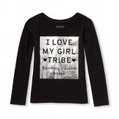 Baby And Toddler Girls Long Sleeve Foil I Love My Girl Tribe Graphic Tee