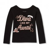 Baby And Toddler Girls Long Sleeve Glitter Diva Like My Auntie Graphic Tee