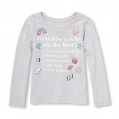 Baby And Toddler Girls Long Sleeve Glitter Grandmas Rules Graphic Tee