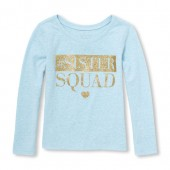 Baby And Toddler Girls Long Sleeve Glitter #Hashtag Sister Squad Graphic Tee