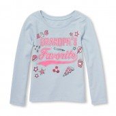Baby And Toddler Girls Long Sleeve Glitter Grandpas Favorite Patch Graphic Tee