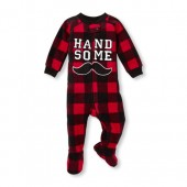Baby And Toddler Boys Long Sleeve 'Handsome' Plaid Footed Blanket Sleeper