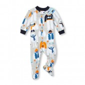 Baby And Toddler Boys Long Sleeve Winter Yeti Footed Blanket Sleeper