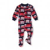 Baby And Toddler Boys Long Sleeve Firetruck Footed Blanket Sleeper