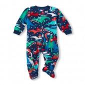 Baby And Toddler Boys Long Sleeve Christmas Dino Print Footed Blanket Sleeper