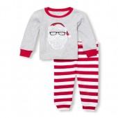 Unisex Baby And Toddler Long Sleeve Santa Top And Printed Pants Snug-Fit PJ Set