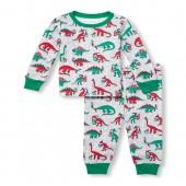 Baby And Toddler Boys Long Sleeve Christmas Dino Top And Printed Pants Snug-Fit PJ Set
