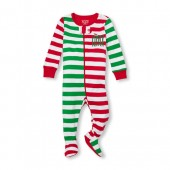 Unisex Baby And Toddler Matching Family Long Sleeve Santas Little Helper Striped Snug-Fit Footed Stretchie