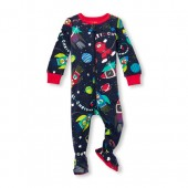 Baby And Toddler Boys Long Sleeve Christmas Space Print Snug-Fit Footed Stretchie