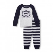 Baby And Toddler Boys Matching Family Long Raglan Sleeve Worlds Best Kid Top And Printed Pants Snug-Fit PJ Set