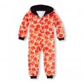 Boys Long Sleeve Pizza Hooded Fleece One-Piece Sleeper