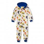 Boys Long Sleeve Emoji Hooded Fleece One-Piece Sleeper