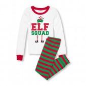 Boys Long Sleeve Elf Squad Top And Printed Pants Snug-Fit PJ Set