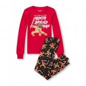 Boys Long Sleeve Glow-In-The-Dark Ginja Bread Man Top and Printed Pants Snug-Fit PJ Set