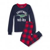 Boys Long Sleeve Christmas Tree-Rex Dino Top And Plaid Pants Snug-Fit PJ Set