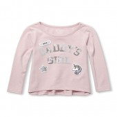 Baby And Toddler Girls Active Long Sleeve Embellished Hi-Low Graphic Top