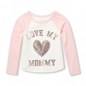 Baby And Toddler Girls Active Long Raglan Sleeve Sequin Graphic Top