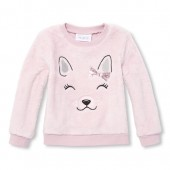 Baby And Toddler Girls Active Long Sleeve Embroidered Critter Face Faux Fur Pullover