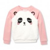 Baby And Toddler Girls Active Long Sleeve Faux Fur Panda Graphic Pullover