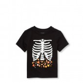Baby And Toddler Boys Short Sleeve Glow-In-The-Dark Skeleton Matching Family Graphic Tee