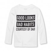 Baby And Toddler Boys Long Sleeve Good Looks Bad Habits Graphic Tee
